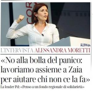 No alla bolla del panico. Alessandra Moretti: penso a un fondo regionale di solidrietà