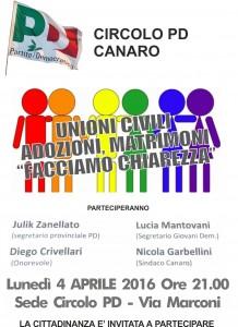 Iniziativa a Canaro sulle Unioni Civili