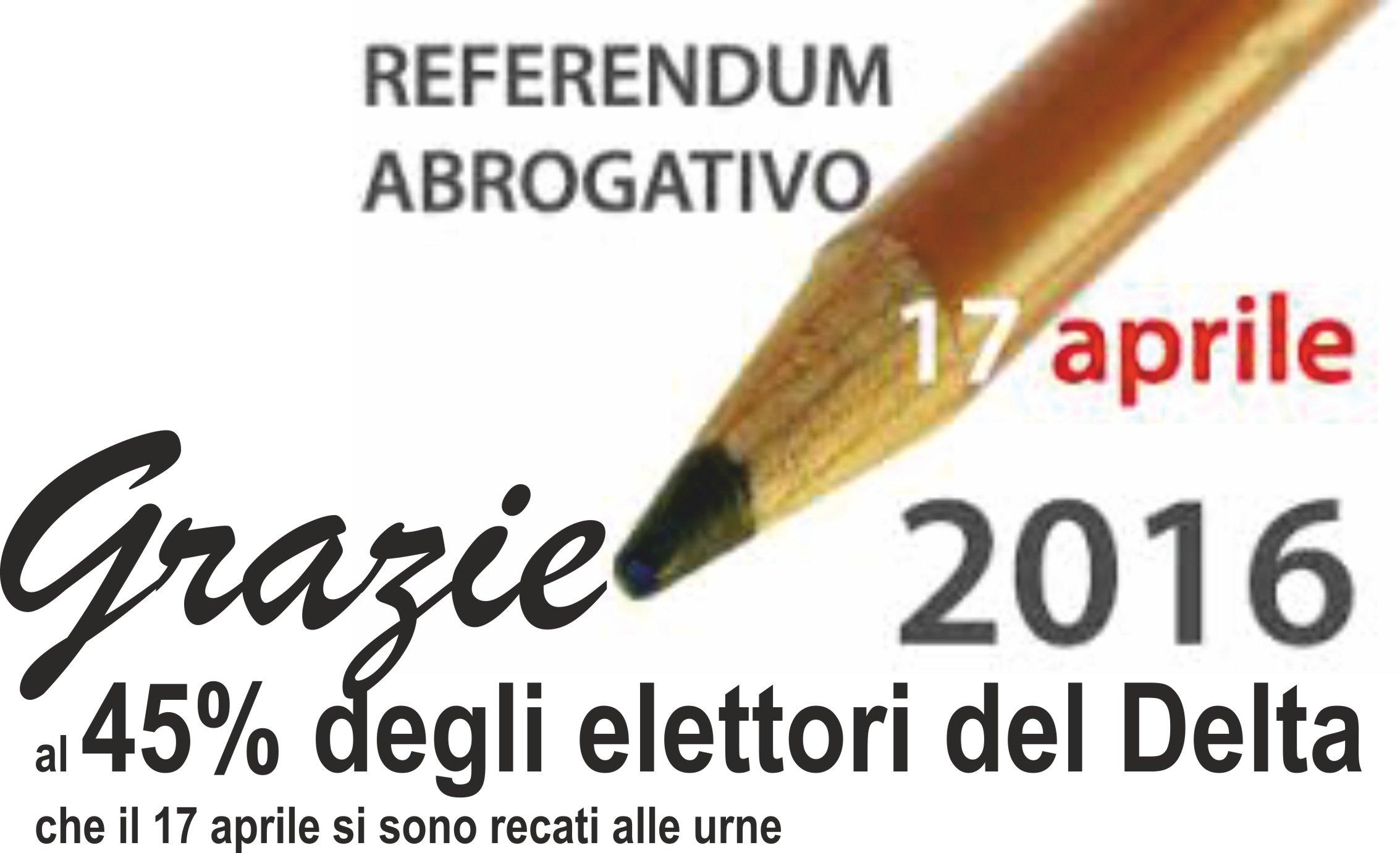 """Coordinamento del PD del Delta del Po. """"Un sentito ringraziamento al 45% degli elettori del Delta che il 17 aprile si sono recati alle urne."""""""