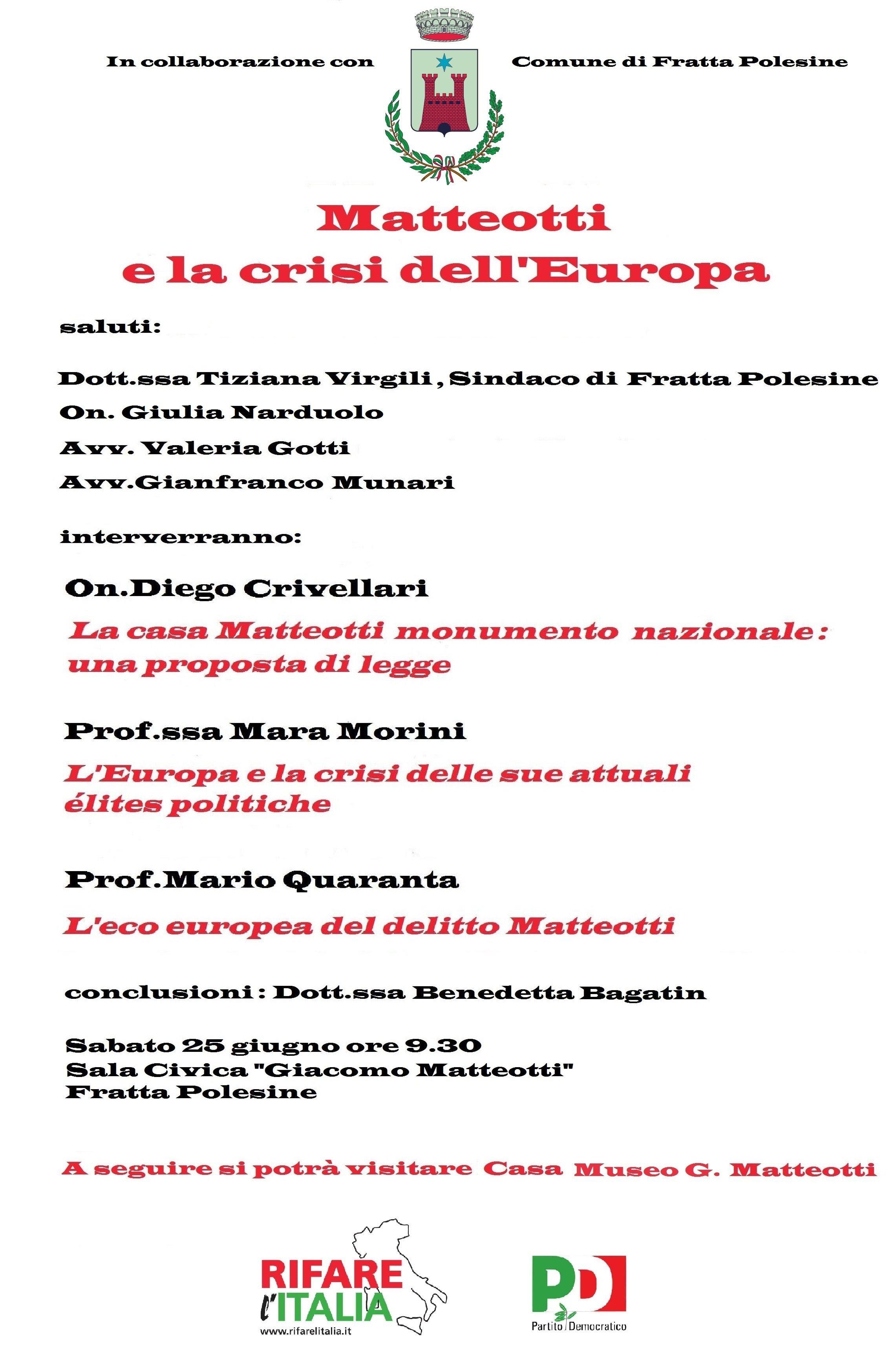 Fratta Polesine.  Matteotti e la crisi dell'Europa.