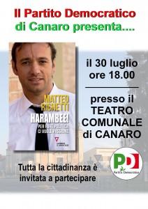 Canaro 20 luglio Matteo Richetti presenta il libro HARAMBEE!