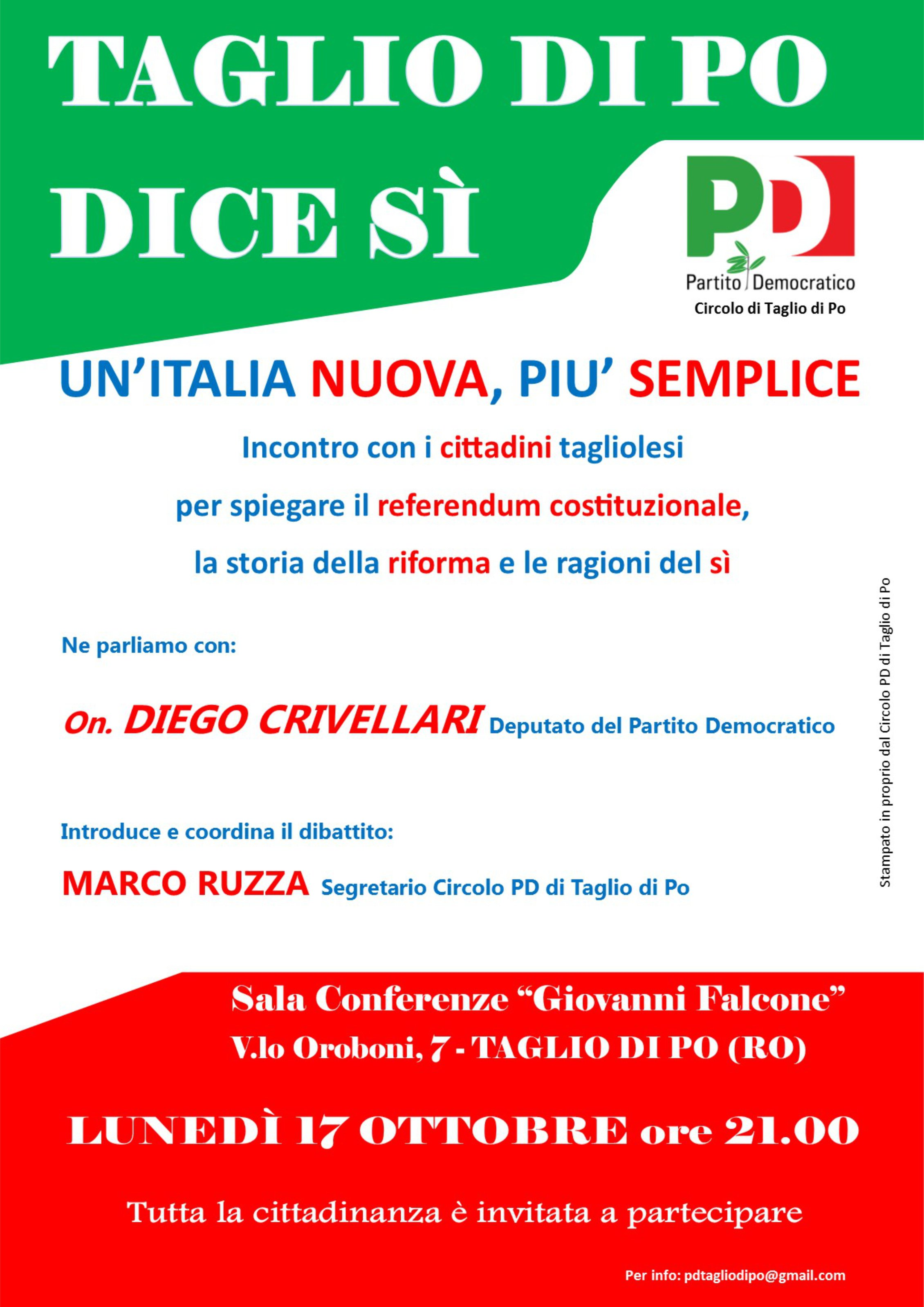 Taglio di Po Lunedì 17 ottobre serata sul Referendum Costituzionale