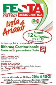 Ariano nel Polesine Lunedì 12 settembre iniziativa politica