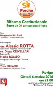 Rovigo giovedì 6 ottobre incontro con Alessia Rotta