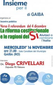 Gaiba – 16 novembre _Verso il referendum del 4 dicembre. La riforma costituzionale e la ragioni del Sì