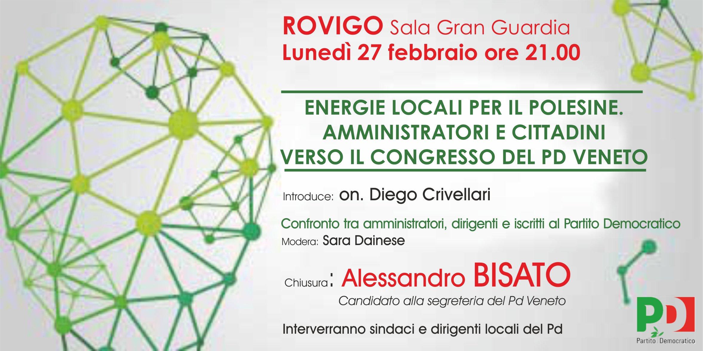 Energie locali per il Polesine Amministratori e cittadini verso il congresso per il PD Veneto