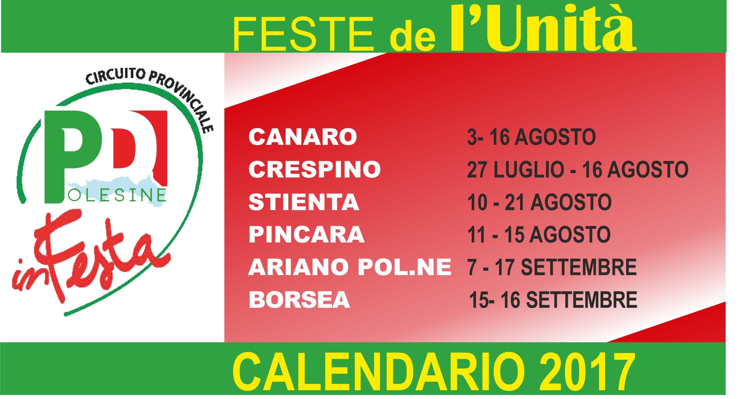 Calendario Feste de l'Unità Polesane