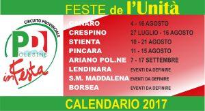 Calendario Feste de l'Unità 2017