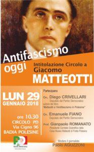 Intitolazione circolo Badia Polesine a Giacomo Matteotti