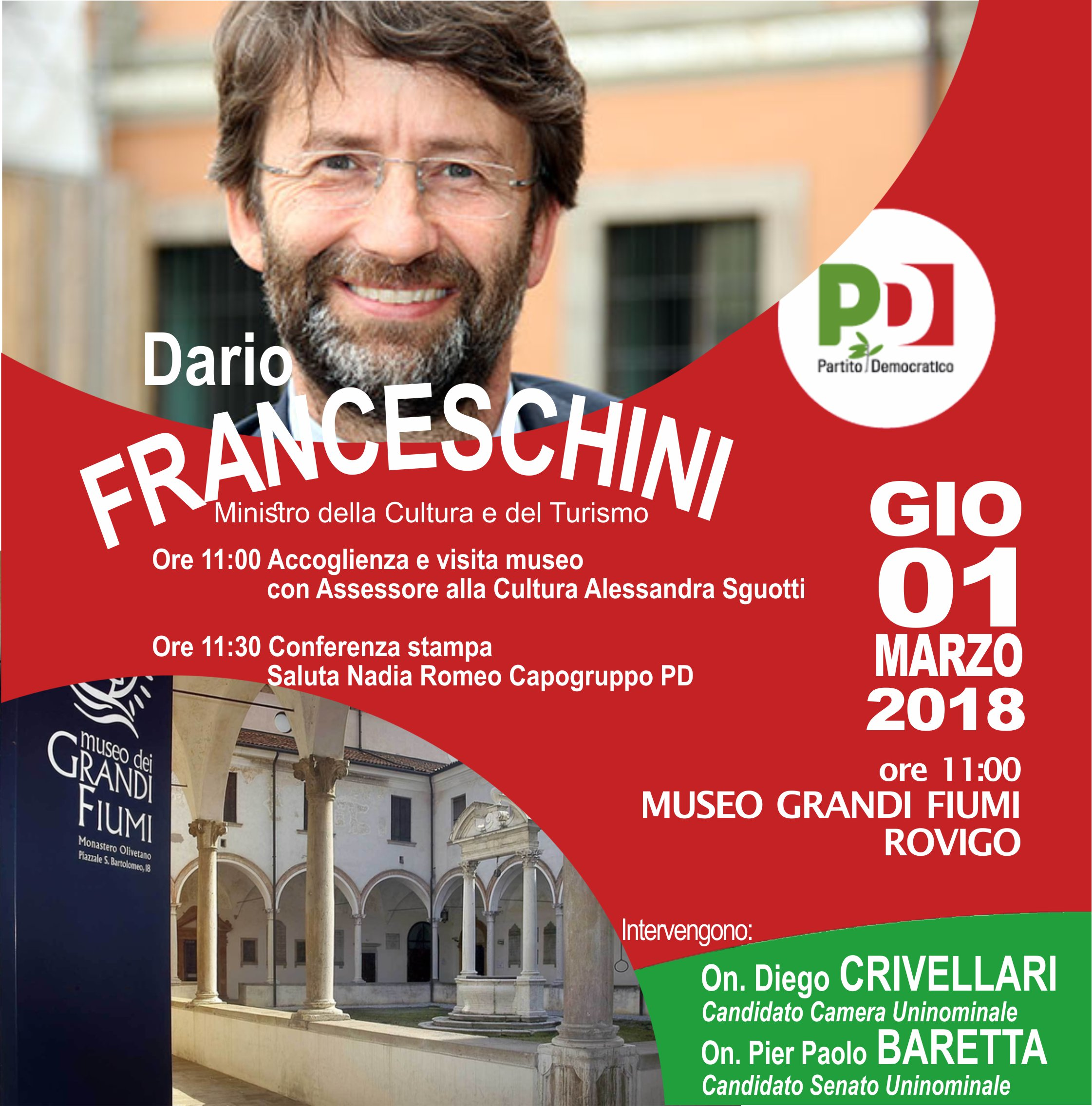 1 Marzo Dario Franceschini – in visita al museo dei Grandi Fiumi