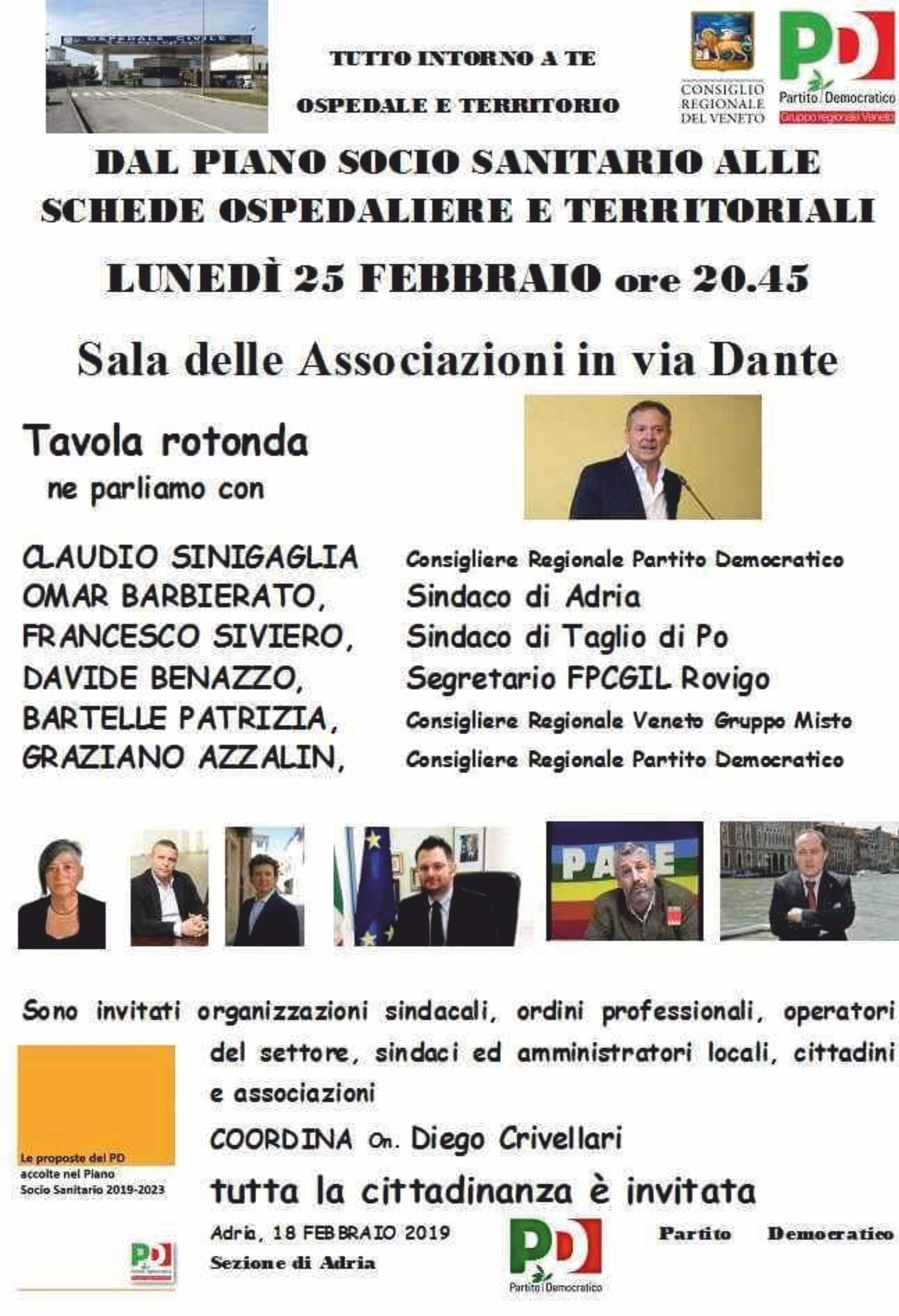 Adria – 25 febbraio 2019 – Tavola Rotonda: dal piano sanitario alle schede ospedaliere e territoriali