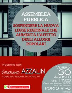 Porto Viro – venerdì 30 agosto – Assemblea Pubblica: affitto alloggi ATER