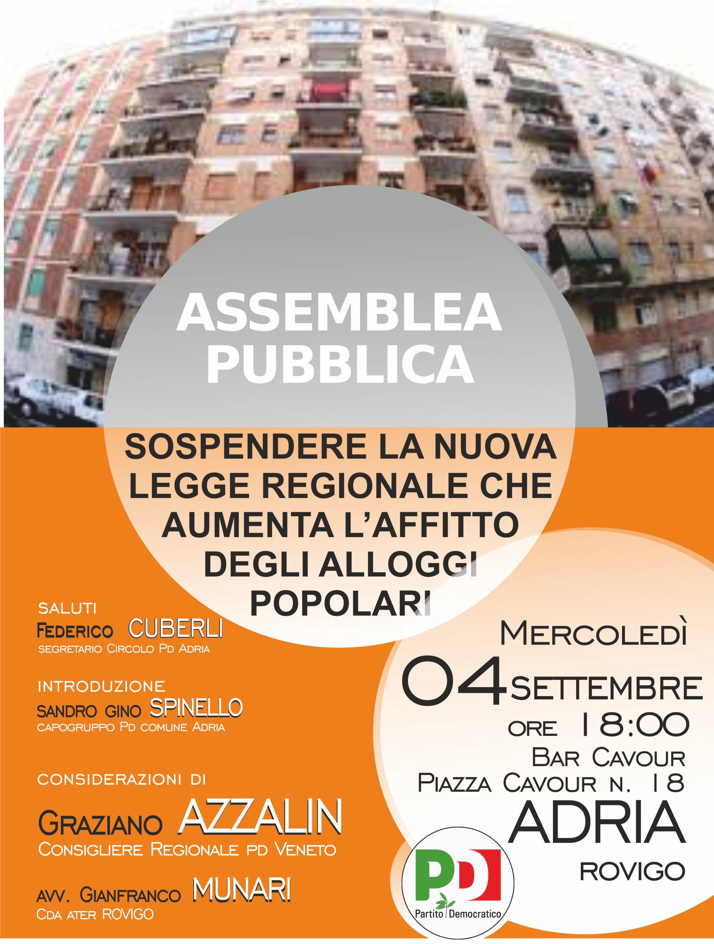 Alloggi popolari, nuovi incontri pubblici con il consigliere regionale del PD Azzalin